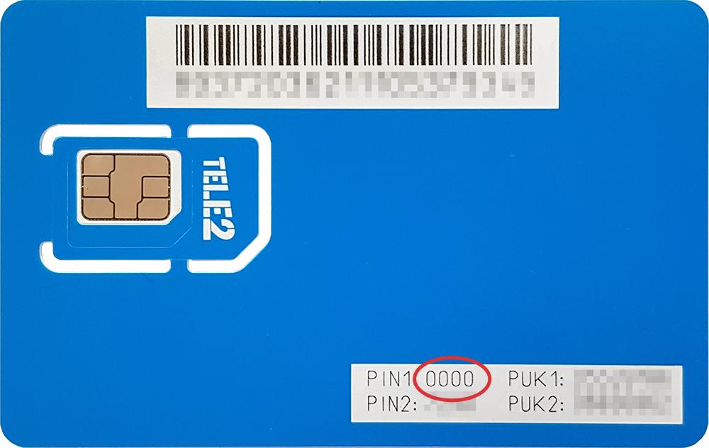 Tele2 SIM kaart ja PUK ning PIN koodid