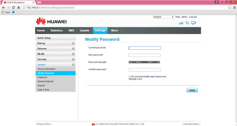 huawei B525 ruuteri modify password