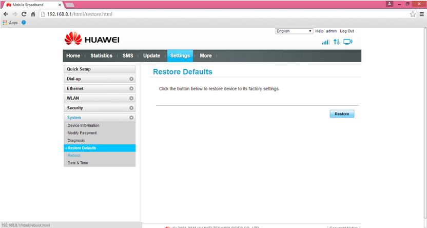 huawei B525 ruuter restore defaults