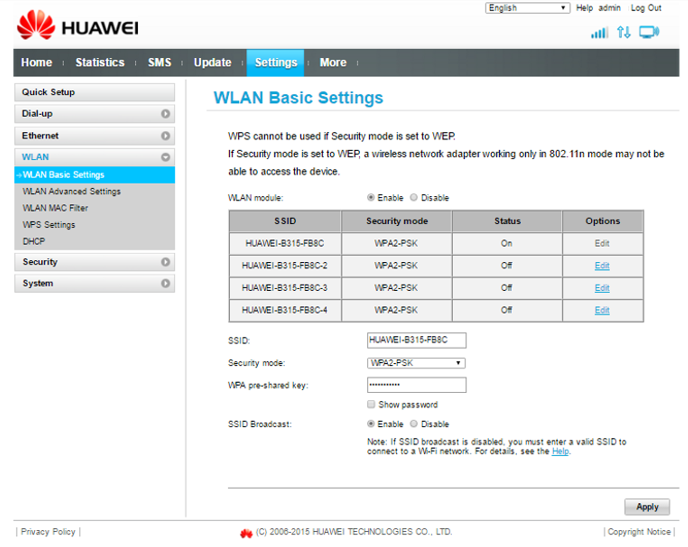huawei B525 wlan basic settings